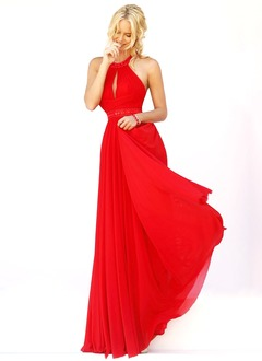 A-Line/Princess Halter Floor-Length Chiffon Prom Dress With  ...