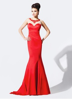 Trumpet/Mermaid Scoop Neck Court Train Satin Tulle Evening Dress With Beading