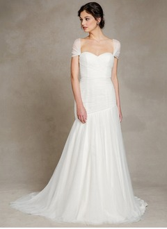 A-Line/Princess Strapless Sweetheart Sweep Train Chiffon Tulle Wedding Dress With Ruffle
