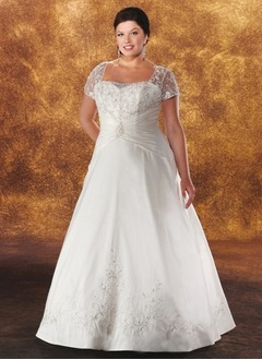 A-Line/Princess Square Neckline Floor-Length Satin Tulle Wedding Dress With Embroidered Ruffle Lace Beading