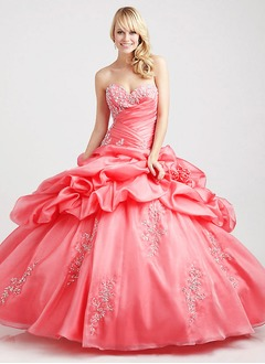 Ball-Gown Strapless Sweetheart Floor-Length Taffeta Organza Prom Dress With Ruffle Appliques Lace
