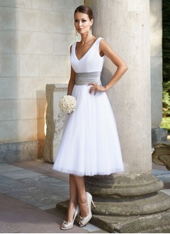 A-Line/Princess V-neck Tea-Length Tulle  ...