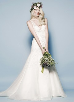Trumpet/Mermaid V-neck Chapel Train Organza Satin Wedding Dress With Lace Beading