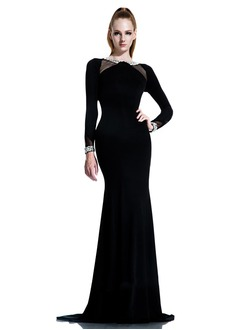 Sheath/Column Scoop Neck Sweep Train Jersey Evening Dress With Beading