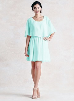 A-Line/Princess Scoop Neck Knee-Length Chiffon Bridesmaid Dress With Cascading Ruffles