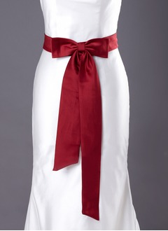 Satin Knee-Length With Bow Sashes