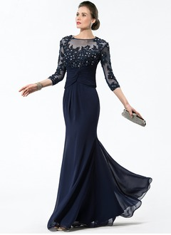 Trumpet/Mermaid Scoop Neck Floor-Length Chiffon Tulle Mother of the Bride Dress With Ruffle Beading Appliques Lace