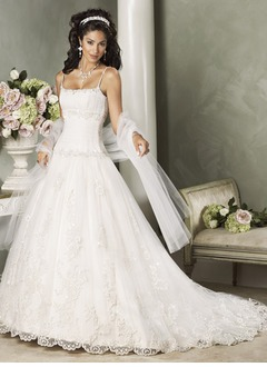 Ball-Gown Square Neckline Chapel Train Satin Lace Wedding Dress With Ruffle Beading