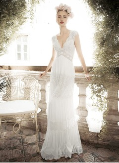 A-Line/Princess V-neck Sweep Train Chiffon Lace Wedding Dress With Beading