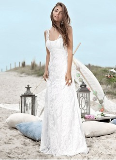 A-Line/Princess Square Neckline Sweep Train Lace Wedding Dress