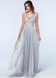 A-Line/Princess V-neck Floor-Length Tulle Lace Bridesmaid Dress With Lace