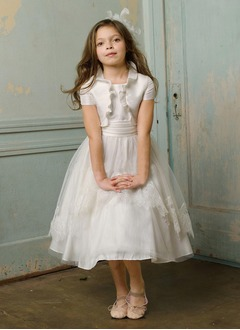 A-Line/Princess Scoop Neck Tea-Length Taffeta Tulle Flower Girl Dress With Lace Cascading Ruffles