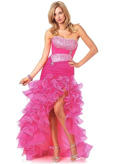 A-Line/Princess Strapless Sweetheart Asymmetrical Organza Charmeuse Prom Dress With Ruffle Beading Cascading Ruffles