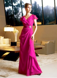 A-Line/Princess V-neck Floor-Length Chiffon Evening Dress With Crystal Brooch Cascading Ruffles
