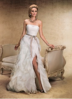 A-Line/Princess Strapless Sweep Train Organza Wedding Dress With Ruffle Sash Split Front