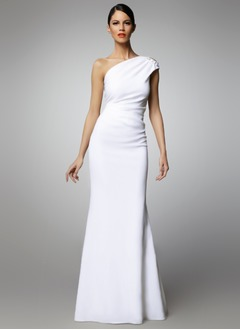 Sheath/Column One-Shoulder Floor-Length Charmeuse Evening Dress With Ruffle