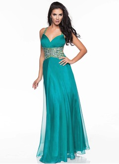 A-Line/Princess Halter Floor-Length Chiffon Prom Dress With Sequins
