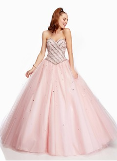 Ball-Gown Strapless Sweetheart Floor-Length Satin Tulle Quinceanera Dress With Beading Sequins