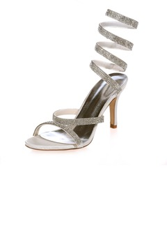 Women's Satin Stiletto Heel Sandals Slingbacks With Beading  ...