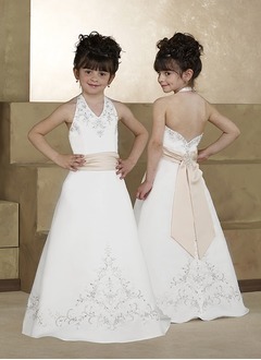 A-Line/Princess Halter Sweep Train Satin Flower Girl Dress With Embroidered Sash Beading Bow(s)