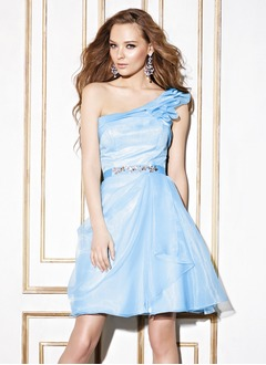 A-Line/Princess One-Shoulder Short/Mini Organza Homecoming Dress With Beading Bow(s) Cascading Ruffles