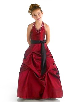 A-Line/Princess Halter Floor-Length Taffeta Flower Girl Dress With Sash Beading