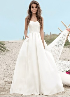 A-Line/Princess Strapless Sweetheart Floor-Length Satin Wedding Dress
