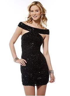Sheath/Column Off-the-Shoulder Short/Mini Sequined Prom Dress