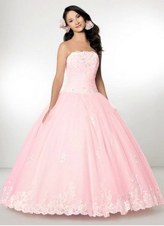 A-Line/Princess Strapless Floor-Length Organza Quinceanera Dress With Ruffle Lace Beading