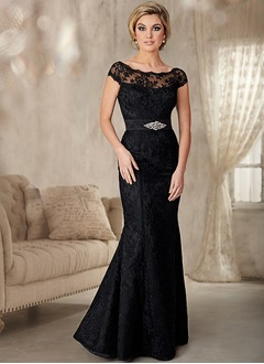 Sheath/Column Scoop Neck Floor-Length Lace Mother of the Bride Dress With Lace