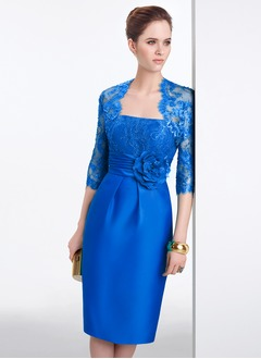Sheath/Column Strapless Knee-Length Satin Lace Evening Dress With Lace Flower(s)
