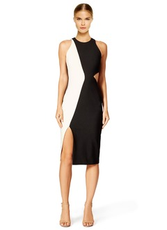 Sheath/Column Scoop Neck Knee-Length Jersey Cocktail Dress With Split Front