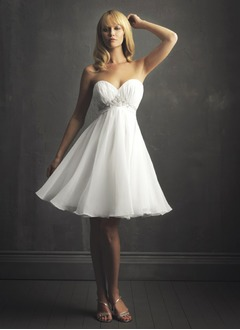 A-Line/Princess Strapless Sweetheart Knee-Length Organza Satin Wedding Dress With Ruffle Lace