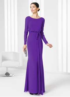 Sheath/Column Scoop Neck Floor-Length Chiffon Mother of the Bride Dress With Ruffle Bow(s) Cascading Ruffles