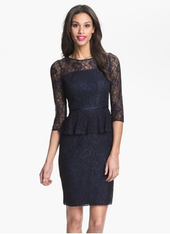 Sheath/Column Scoop Neck Knee-Length Lace Cocktail Dress With Cascading Ruffles