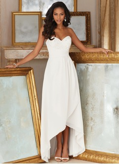 A-Line/Princess Strapless Sweetheart Asymmetrical Chiffon Bridesmaid Dress With Ruffle Lace Beading