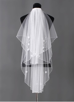 One-tier Elbow Bridal Veils With Beaded Edge (00605003679)