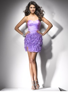 Sheath/Column Sweetheart Short/Mini Organza Homecoming Dress With Flower(s) Cascading Ruffles