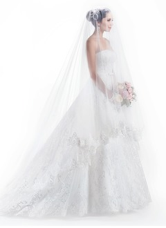 Ball-Gown Strapless Sweetheart Cathedral Train Charmeuse Lace Wedding Dress