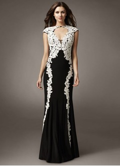Sheath/Column V-neck Sweep Train Jersey Evening Dress With Appliques Lace