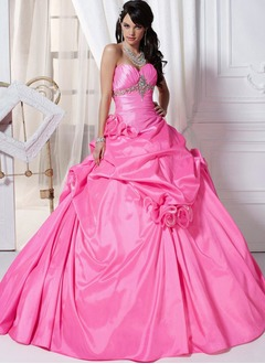 Ball-Gown Strapless Sweetheart Floor-Length Taffeta Quinceanera Dress With Ruffle Beading Flower(s) (0215105202)