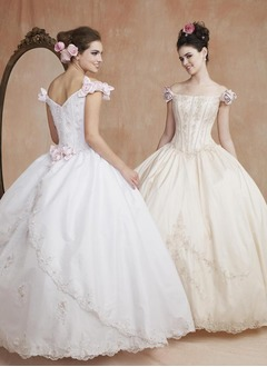 Ball-Gown Off-the-Shoulder Floor-Length Satin Wedding Dress With Lace Beading Flower(s) Sequins