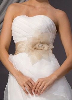 Taffeta Organza With Beading Flower Sashes (1515084690)