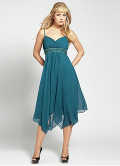 A-Line/Princess V-neck Asymmetrical Chiffon Charmeuse Homecoming Dress With Ruffle Beading
