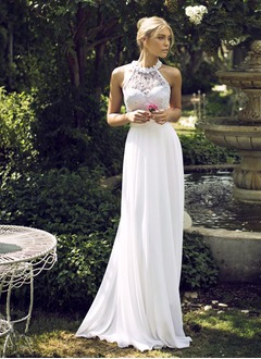 Empire Scoop Neck Floor-Length Chiffon Wedding Dress With Beading Appliques Lace Flower(s)