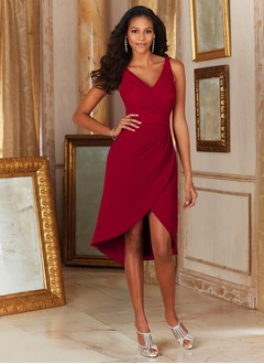 Sheath/Column V-neck Asymmetrical Chiffon Cocktail Dress With Ruffle