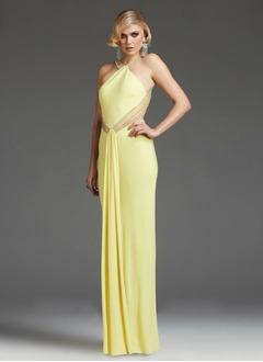 Sheath/Column Floor-Length Chiffon Evening Dress With Beading