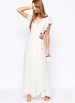 A-Line/Princess V-neck Ankle-Length Chiffon Bridesmaid Dress With Ruffle Flower(s) Cascading Ruffles