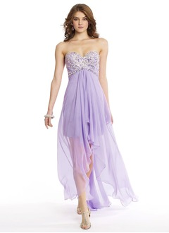 Empire Strapless Sweetheart Asymmetrical Chiffon Prom Dress With Beading Sequins