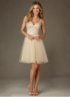 A-Line/Princess V-neck Knee-Length Tulle Bridesmaid Dress With Sequins